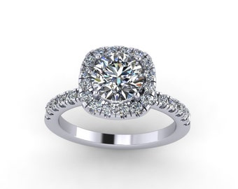 forever brilliant moissanite engagement ring with 0.50ct diamonds,style 26WDM