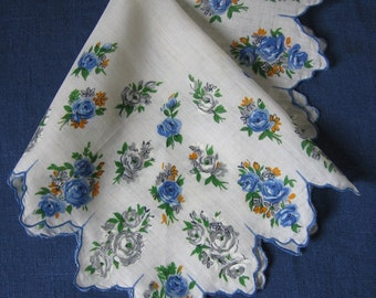 Vintage Roses Handkerchief Retro Cotton Print Hankie Ladies Purse Accessory 1950s Pristine Unused