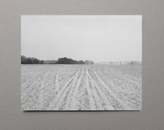 Tracks Through a Snowy Field, Black and White Photography, Art Print, Simple Serene, Grey, Landscape Photography, Modern, Winter Home Decor