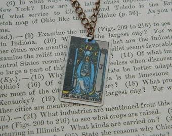 Tarot necklace tarot jewelry High Priestess minimalist jewelry mixed media jewelry supernatural