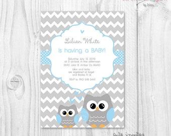 Owl Baby shower boy invitation, grey chevron baby shower boy invitation, blue and grey baby shower invitation, owls baby shower theme