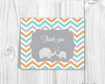 Baby shower thank you cards chevron elephant aqua and orange PRINTABLE