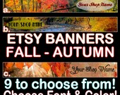 NEW!  FALL - AUTUMN Etsy Banners, Fall Color Banners, Autumn Shop Banners, Premade Fall Banners, Autumn, Fall