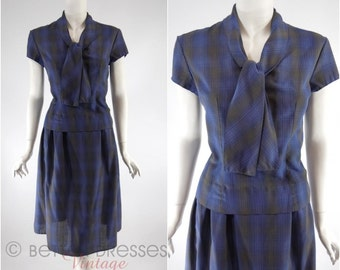 Vtg 50s Navy Plaid Blouse Skirt Set St Michael Dress - med