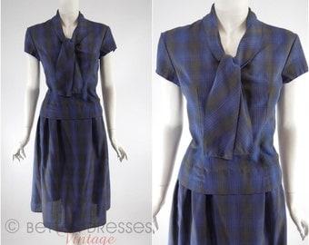 Vtg 50s Navy Plaid Blouse Skirt Set St Michael Dress - med