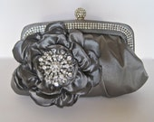 Clutch Grey Crystal Frame Satin Clutch with Gorgeous Handmade Taffeta Grey Flower and a Gorgeous Rhinestone Brooch Accent