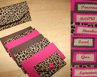 Cheetah Print & Pink Fabric Cash Envelopes with EMBROIDERED LABELS