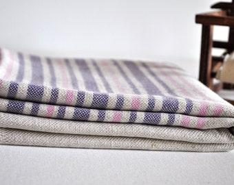 Linen Peshtemal Towel Turkish towel for bath and beach natural linen pink purple striped