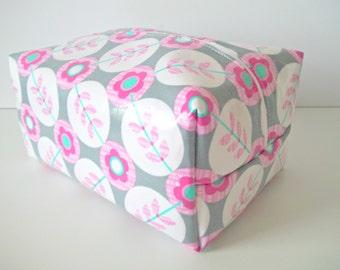 Purple Waterproof Makeup Bag - Water Resistant Cosmetic Bag - Laminated Fabric
