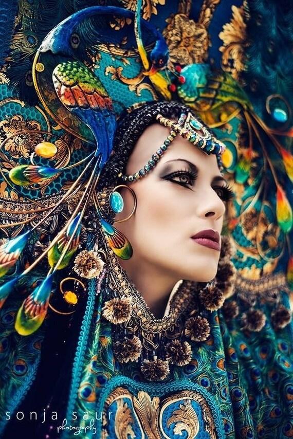 Sale READY TO SHIP Peacock Fantasy Woodland fairy nymph goddess headdress headpiece gaga steampunk burlesque costume