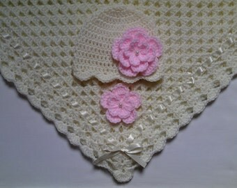Crochet Baby Blanket and Baby Hat Set Gift Christening Baptism Girl baby beanie ivory flower pink afghan