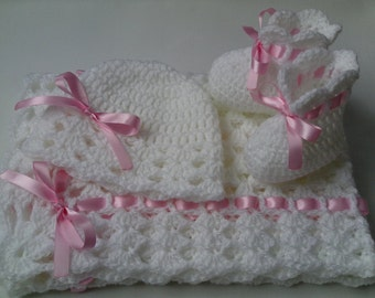 Crochet Baby Blanket, Hat and  Booties Set gift christening baptism baby white afghan, baby pink, baby shower gift