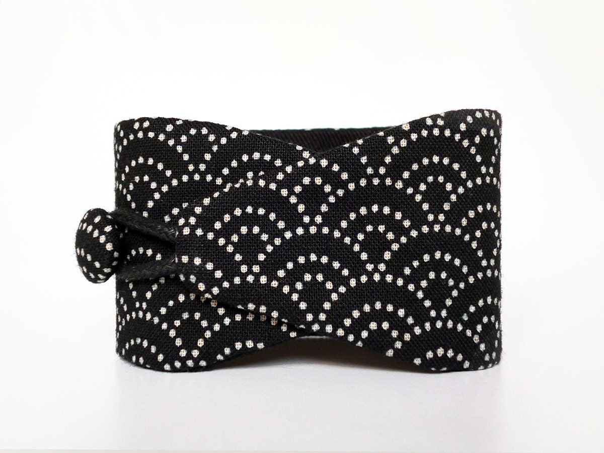 bracelet obi black sashiko tissu japonais 100 coton motif. Black Bedroom Furniture Sets. Home Design Ideas