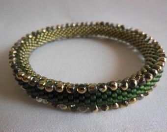 Bead Crochet Bangle:  Olive Oil