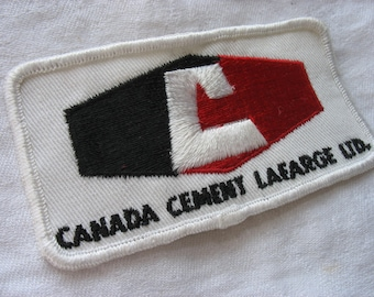 Fabric Patch Canada Cement Lafarge Ltd. Embroidered Patch Fabric Badge White With Red and Black Industrial Construction Industry