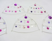 Gorgeous wire and pink-purple-silver sequin hanging ornaments for Christmas tree or wedding decoration - MULTI PACK of 5