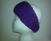 Womens  purple violet soft ear warmer headband tapered style