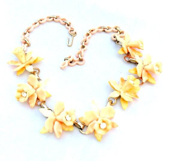 Celluloid Rhinestone Peach Flower Necklace w Earrings 1930s Vintage Jewelry