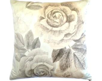 Botanical Print Cushion, Pillow. Summer. Hand Drawn, Rose Print, Accent. Silk Cushion. Grey neutral. Home Accessory. Interior design. chic