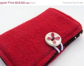 ON SALE: Upcycled Wool Bifold w/ Vintage Button Closure and Cotton Print Lining - Red (BF-28)
