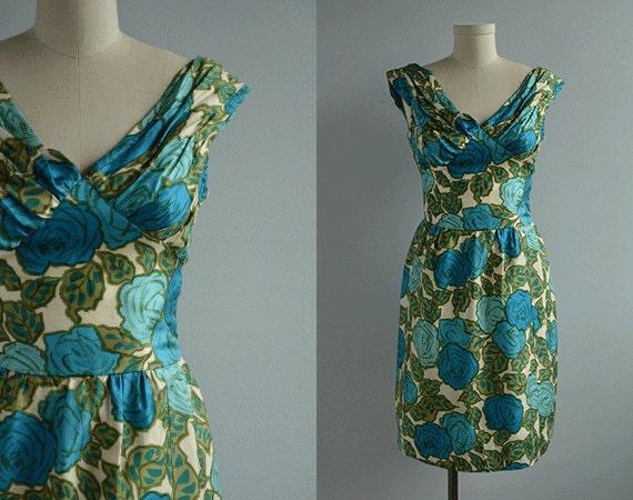Vintage Silk Cocktail Dress / 50s Ruched Silk Floral Print Wiggle Dress Turquoise Blue Teal Olive