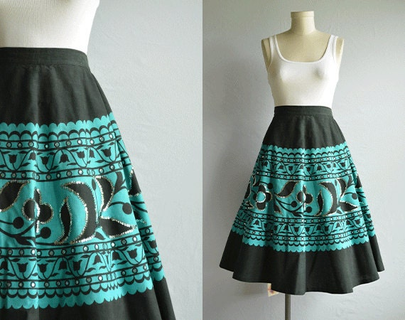 Vintage Mexican Skirt / Hand Painted Sequin Beaded Mexican Full Circle Skirt Black and Turquoise New Old Stock