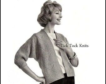No.268 PDF Vintage Crochet Pattern Women's Diamond Patterned Cardigan - Retro Crochet Pattern - Instant Download