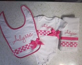 Personalized Baby Girl Embroidered Onesie, Bib and Burp Cloth