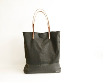 Canvas Bag Black Leather and Black Waxed Canvas Tote Bag - HOLM -  Leather Shoulder Bag Leather Shopper Bag by Holm