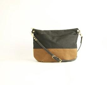 Waterproof Bag Black & Tan Canvas and Leather Cross Body Bag - NEVIS -  Adjustable Leather Shoulder Bag Leather Shopper Bag by Holm