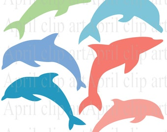 Dolphins Silhouette  Clip Art Set, Digital Clipart, scrapbooking, beach, sea