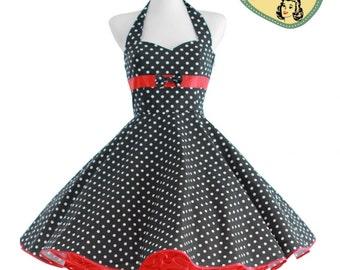 50's vintage dress black red Polka dots Tailor Made after your measurements #0023