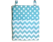 Aqua dots chevron Hanging wet bag kitchen flap nursery baby cloth diaper unpaper towels waterproof blue natural