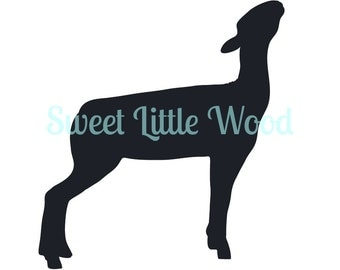 Market Lamb- 4-H/ FFA lamb in show position 3 x digital SVG file in black line with no fill, white fill and color format. PNG included