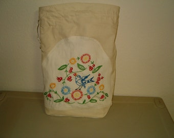 Upcycled Dresser Scarf to Bluebird Reusable Fabric Gift Bag/ Storage Bag