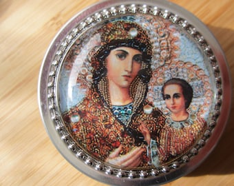 Item # 5 ~ Our Lady of the Way Orthodox style icon rosary case first communion gift confirmation catholic jewelry box baptism gift or favor