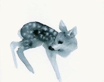Woodland Fawn Watercolor Print Ghost Fawn