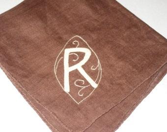 Vintage embroidered initial R hanky applique handkerchief