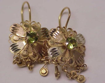 Incredible works of Art , Vintage  10kt Tri-Color Gold  Genuine Peridot Dangle Earrings on French  Wire, 1950s