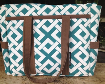 Large Brown Teal Geometric Outdoor Fabric Tennis Racquet Sport Bag