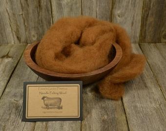 Chestnut-Needle Felting Wool- Natural Wool Roving - Wet Felting Wool-Nuno Felting-Spinning