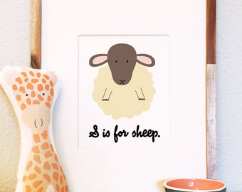 S is for sheep woodland animal portrait nursery illustration print 8x10 5x7