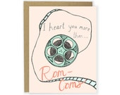 Funny Love Card - Heart You More Than Rom-Coms - Funny Anniversary, Rom-Com Card, Movie Card, Sarcastic Card, Clever, I Like You Card
