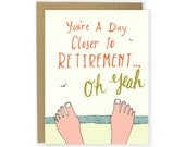 Funny Birthday Card - Retirement Card, You're Old, Beach Card, Over the Hill Card, Old Birthday, Over 50, Humor, Over 60 Bday, Illustrated