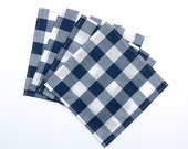 Small Navy Blue and White Gingham Cloth Lunch Box Napkins - Cocktail Napkins - Buffalo Check - Set of 4