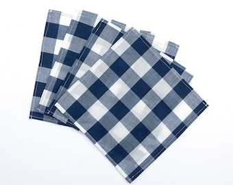 Cloth Napkins - Small Navy Blue and White Gingham Cloth Lunch Box Napkins - Cocktail Napkins - Buffalo Check - Set of 4