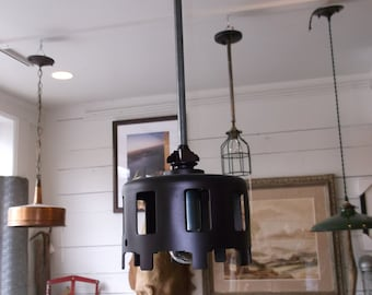Custom Designed Industrial Hanging Pendant - Repurposed Industrial Lighting