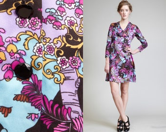 Mini Pucci PRINT 60s Mini Psychedelic Dress // Long Sleeves // Button Front Skirt