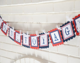 Happy Retirement banner--Bon Voyage-you choose color---nautical-beach- shown in blue and red