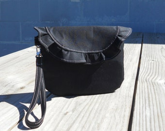 SALE- Wristlet, Black Wristlet, Formal Clutch, Gray Accents, Ruffled Clutch, One of a Kind